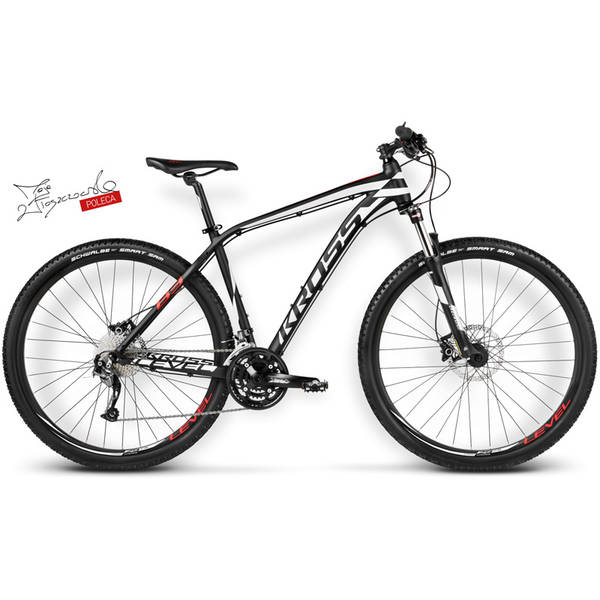 Bicicleta Kross Level B3 black-white-red matte 2016