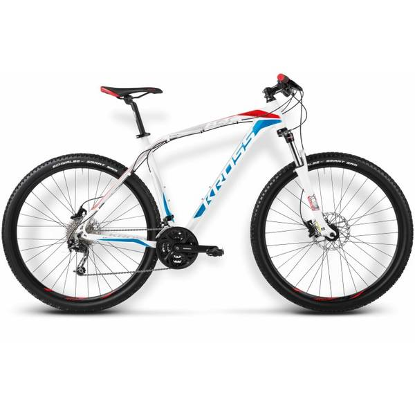 Bicicleta Kross Level B4 M white-blue-red glossy 2015