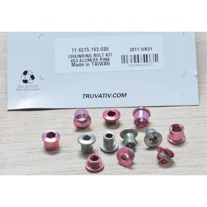 Chain Ring Bolt Kit 4X3 Alumum/SS Pink