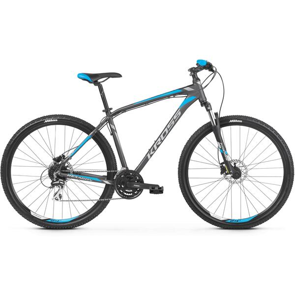 Bicicleta Kross Hexagon 5.0 27.5 Graphite Silver Blue Matte
